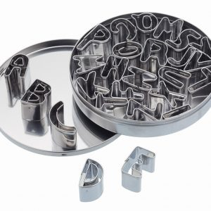 26 Alphabet Cookie Cutters With Metal Storage Tin
