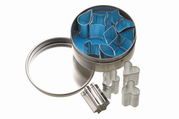 12 Assorted Mini Cutters With Metal Storage Tin